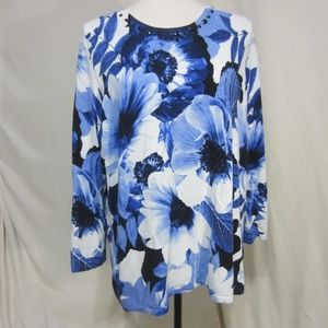 Alfred Dunner,  XL, Blue/White pullover top w/bead